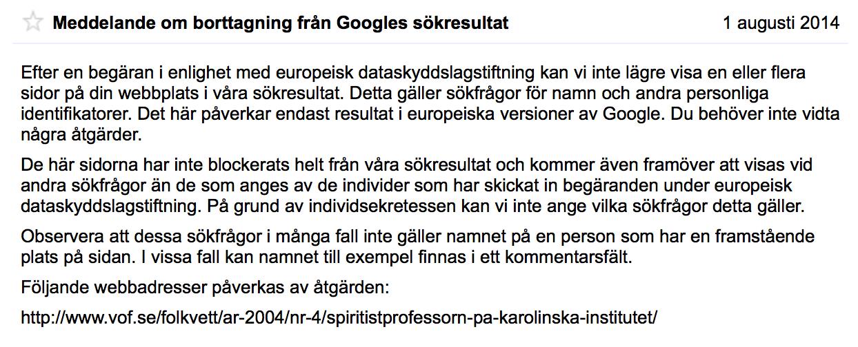 Meddelande om borttagning från Googles sökresultat