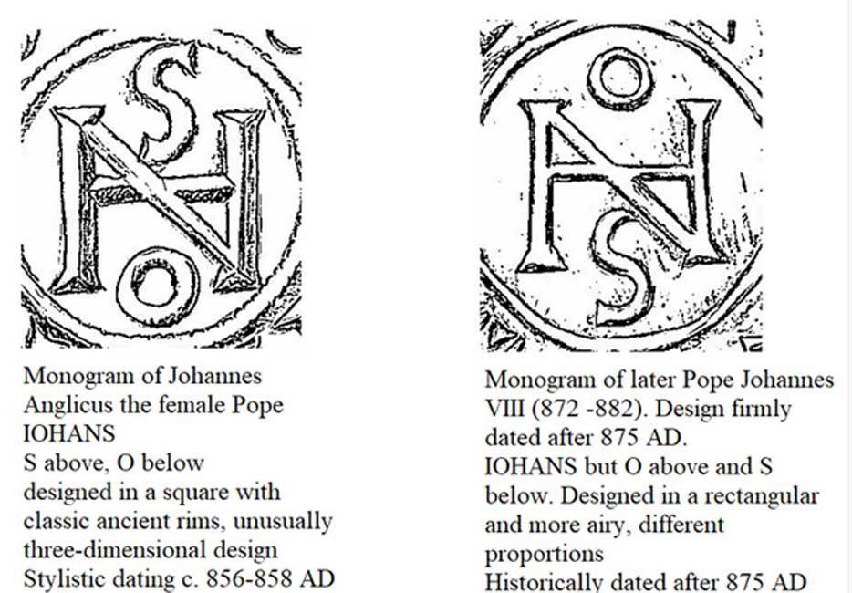 Johannes VIII, två olika monogram på mynt
